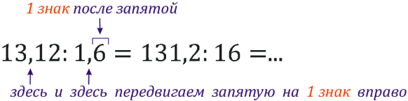 деление десятичных